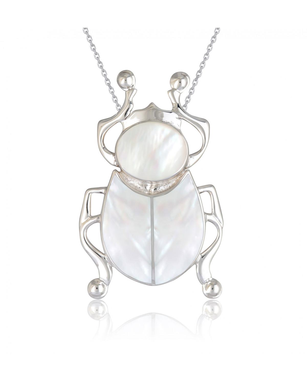 Colgante Madre perla blanca Escarabajo Plata de Ley 925