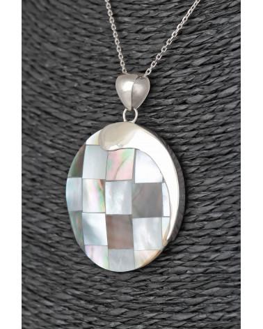 Aden's Jewels – Pendentif – Médaillon Nacre  Abalone Argent – Femme – Bleu Vert – Diamètre 33 mm