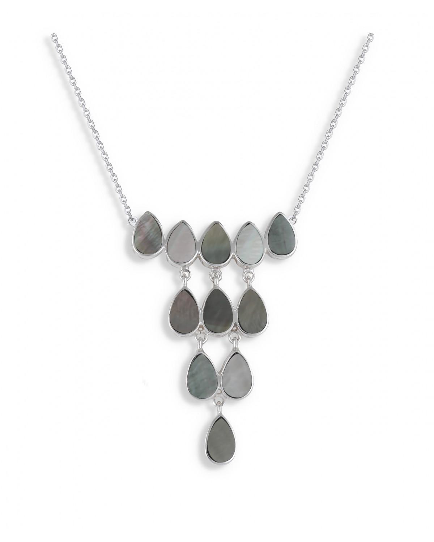 925 Sterlingsilber Grau perlmutt Halskette
