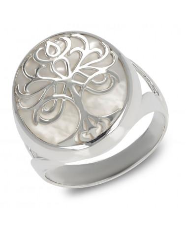 Schmuck-Geschenk-Symbol Baum des Lebens-Ringe-Perlmutt Weiss-Silber-Unisex