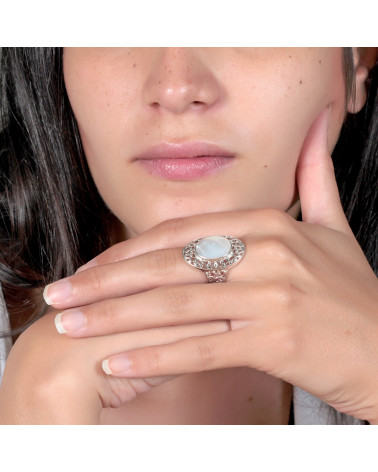 Schmuck Geschenk-Stilisierte Ring-Schöpfer-Perlmutt-Weiss-Stilisierte Ring-Solide Silber-Frau