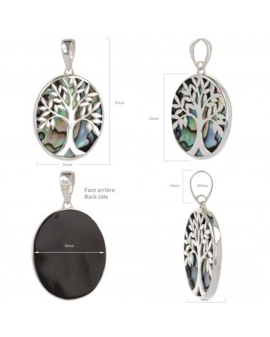 Schmuck-Geschenk-Symbol Baum des Lebens-Anhänger-Perlmutt Abalone-Silber-Oval-Unisex
