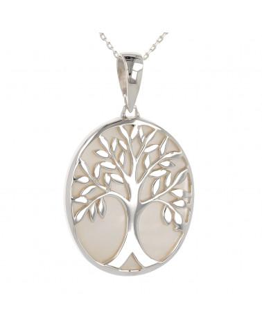 Schmuck-Geschenk-Symbol Baum des Lebens-Anhänger-Perlmutt weiss-Silber-Oval-Unisex