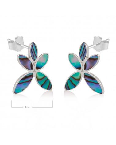 Geschenk Frau-Ohrringe Blume-Nacre Abalone-Sterling Silber-Frau