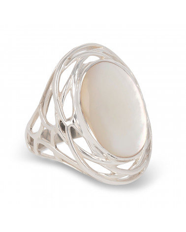 Geschenk Frau Original - Cabochon Ring Perlmutt Weiss Oval auf Nest von Silber-Frau-Weiss