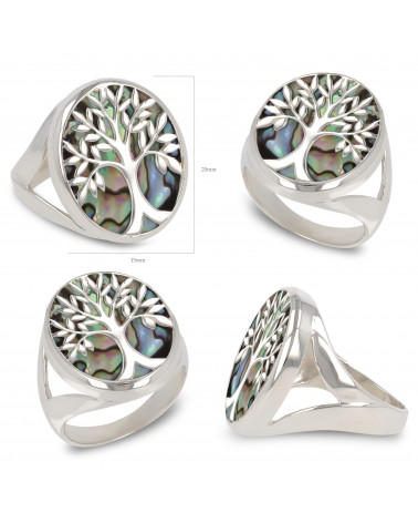 Schmuck-Geschenk-Symbol Baum des Lebens-Ringe-Perlmutt Abalone-Silber-Damen