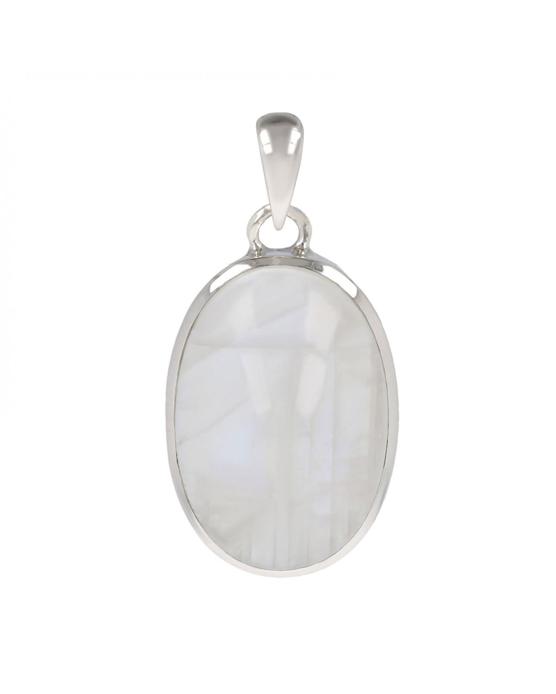 Idée cadeau Pierre de Lune Pendentif-blanc  Forme ovale femme