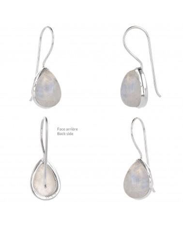 Birnenförmige Mondstein-Ohrringe-Sterling  Silber-Damen