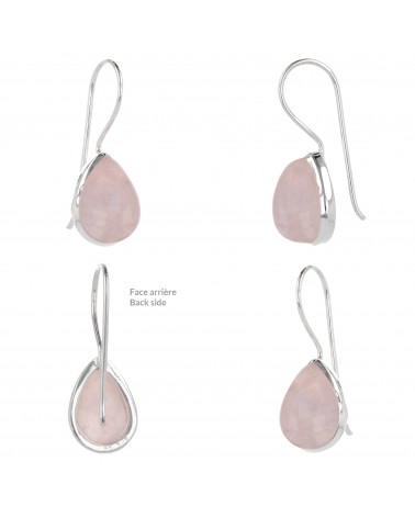 Birnenförmige Rosa Quarz-Ohrringe-Sterling  Silber-Damen