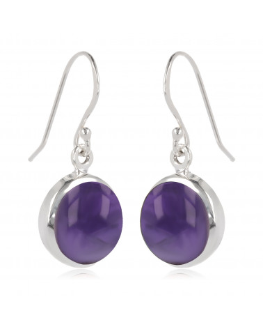 round-shaped amethyst earrings set with sterling silver