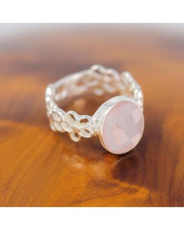 Geschenkidee Mom-Ring - Rosenquarz Stein-Sterling Silber-Frau-Rose-Ring Blume