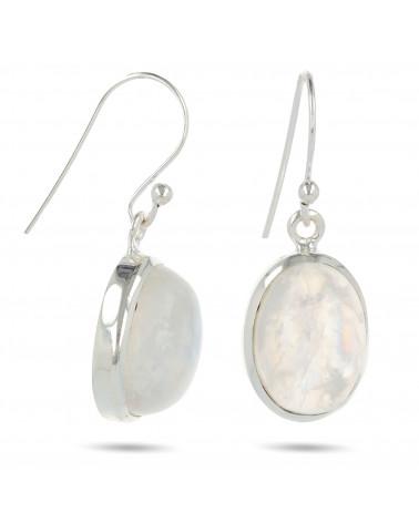 Ovalförmige Mondstein-Ohrringe-Sterling  Silber-Damen