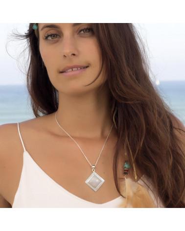 Personalisierte Geschenk Frau - Anhänger - Mondstein-Square-Form - Sterling Silber - Frau