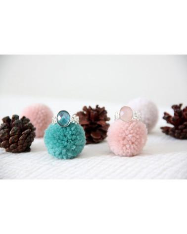 Geschenkidee Mom-Ring - Labradorite Stein-Sterling Silber-Frau-Blau-Ring Blume