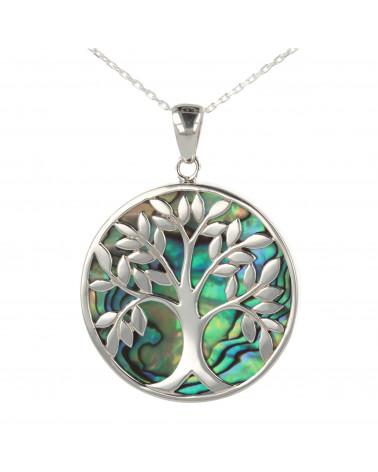 Schmuck-Geschenk-Symbol Baum des Lebens-Anhänger-Perlmutt Abalone-Silber-Runde-Unisex