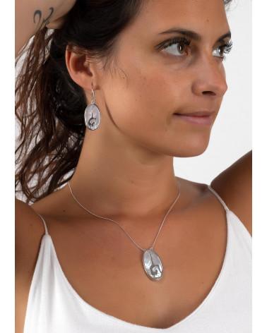 Geschenkidee Schmuck Zen Collection-Ohrringe-Yoga- Sterling Silber-Perlmutt-Oval-Frau