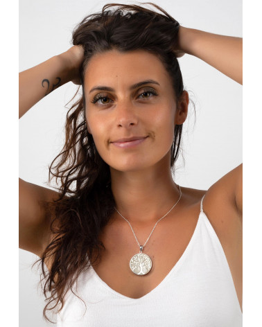 Schmuck-Geschenk-Symbol Baum des Lebens-Anhänger-Weiss Perlmutt-Silber-Rund-Damen