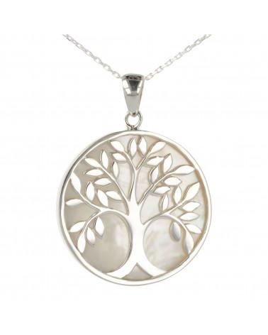 Símbolo de joyería de regalo Árbol de la vida-Colgante- Madreperla blanca- Plata rodio-redondo-unisex