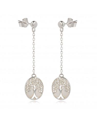 Geschenk Schmuck Symbol Baum des Lebens-Ohrringe- Weiss Perlmutt- Sterling Silber-Oval-Frau