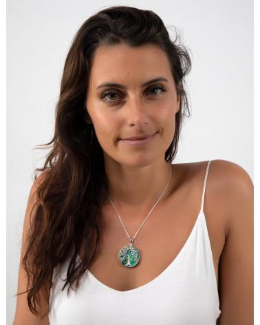 Schmuck-Geschenk-Symbol Baum des Lebens-Anhänger-abalone Perlmutt-Silber-Rund-Damen