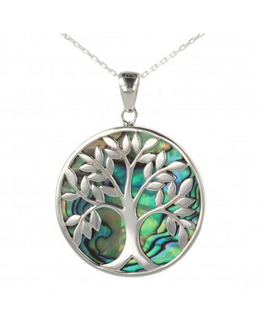 Simbolo di gioielli regalo Albero della vita-Ciondolo-Madreperla bianca- Argento rodiato-rotondo-unisex