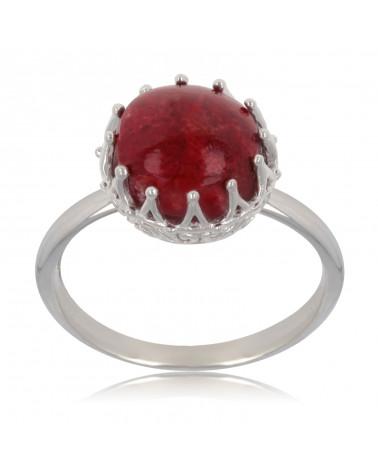 Geschenkidee Mom-Creation-Koralle Ring-Sterling Silber-Runde-Frau
