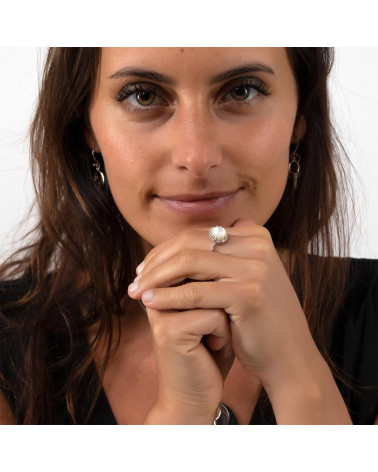 Geschenkidee Mom-Creation-White Perlmutt-Ring-Sterling Silber-Runde-Frau