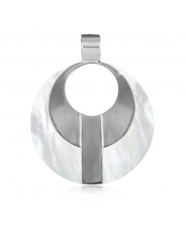 Runder Anhänger Modegraphik-Perlmutt-Medaillon mit Rhodiumsilber
