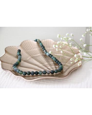 Damen Halskette Achat Stein mit feinen Steinen