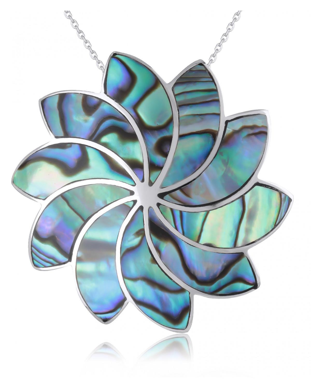 Colgante Madre perla Abalone Flores Plata de Ley 925
