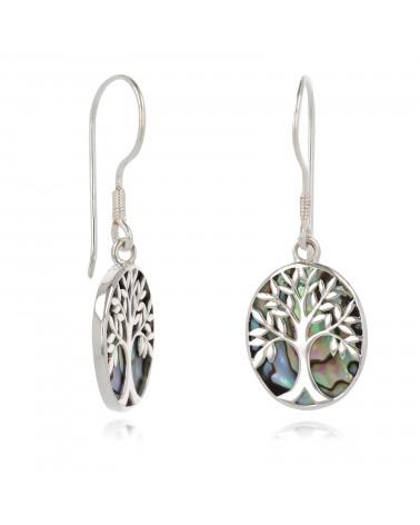 Schmuck-Geschenk-Symbol Baum des Lebens-Ohrringe-Abalone Perlmutt-Silber-Oval-Damen