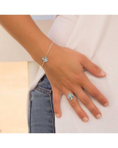 Geschenk Schmuck Symbol Baum des Lebens-Ringe -Abalone Perlmutt Sterling Silber-Oval-Frau