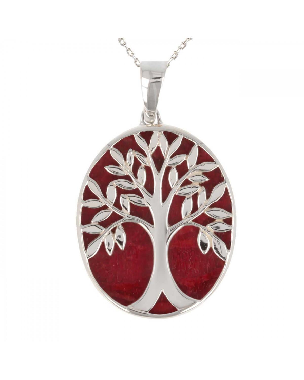 925 Sterlingsilber Koralle Baum des Lebens Ovale Form Anhänger