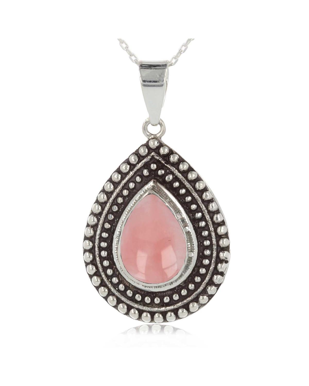 Colgante Cuarzo Rosa Forma Pera Plata de Ley 925