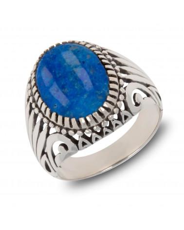 Handgearbeiteter Designer-Ring für Herren-Ovaler Onyx-Stein schwarz-Solider Biker-Ring mit Silbereffekt