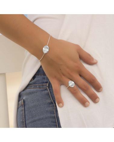 Regalo símbolo de la joyería Árbol de la vida Anillo de nácar blanco Plata esterlina ovalada Mujer