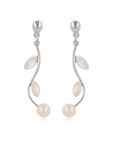 Damen Geschenk Idee-Dangle Ohrringe-Perlen- Blütten-Sterling Silber-Frauen