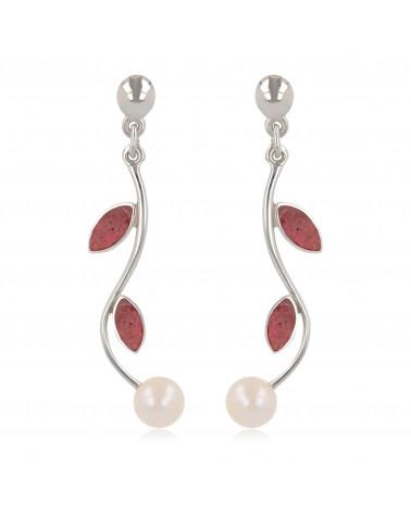 Damen Geschenk Idee-Dangle Ohrringe-Perlen- Koralle Blütten-Sterling Silber-Frauen