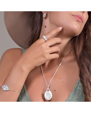 Geschenk Schmuck Frau-Armband - Perlmutt Weiss - Sterling Silber-Baum des Lebens-ovale Form - Sterling Silber-Frau