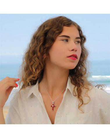 Geschenkidee Schmuck Perlmutt Anhänger Abalone-Sterling Silber Kreuz Shape-Woman-Man