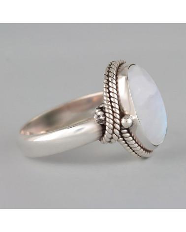 Geschenkidee für ihren Mondstein Cabochon Ring Ketten Silber Schmuck Frauen
