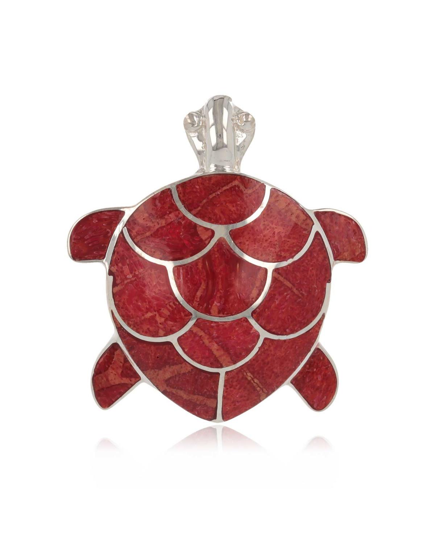 925 Sterlingsilber Koralle Schildkröte Anhänger