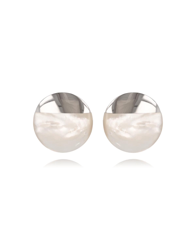 Pendientes Madre perla blanca Forma Redonda Plata de Ley 925