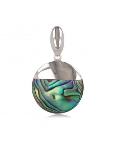 Regalo per la sua creazione ciondolo corallo donna in argento sterling tondo