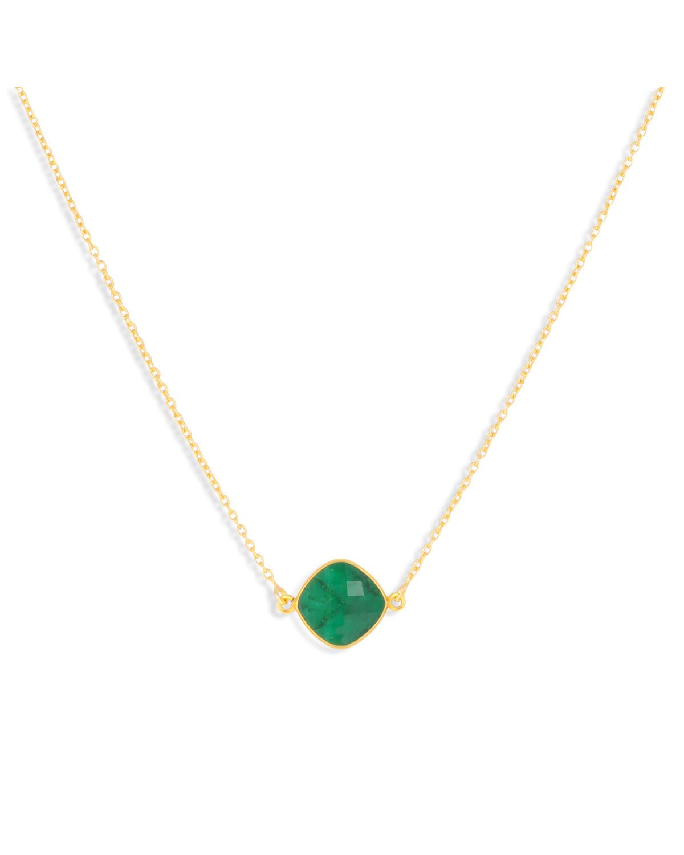 Collar Esmeralda Forma Redonda Chapado en Oro