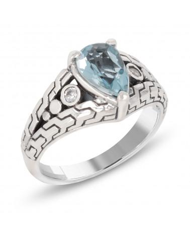 Ovaler Cabochon-Ring aus Korallen Silver Nest Woman Red