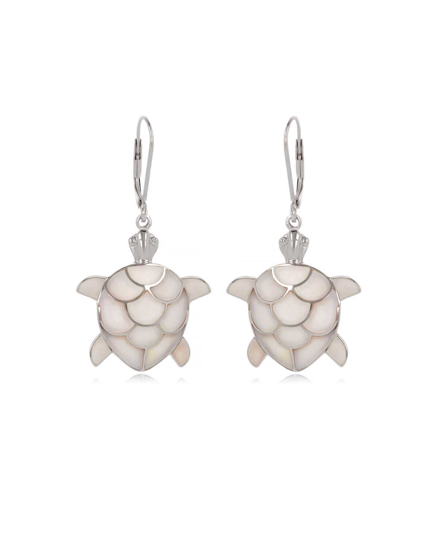 Pendientes Madre perla blanca Tortuga Plata de Ley 925