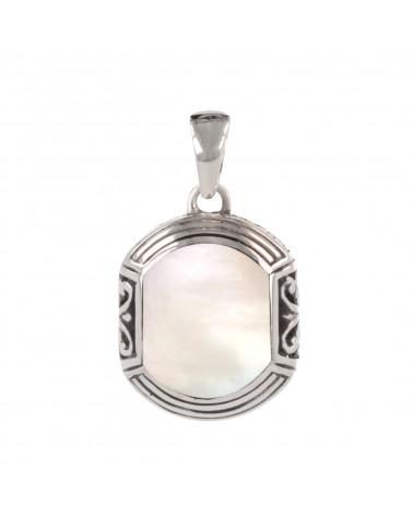Ethnic labradorite pendant with rhodium 925 sterling silver