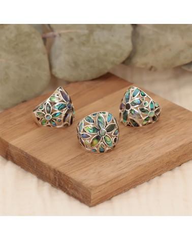 Schmuck-Geschenk-Blume-Ringe-Abalone Perlmutt-Silber-Damen