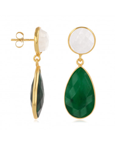 Orecchini di smeraldo e pietra di luna, placcati in oro fino placcato in argento 925